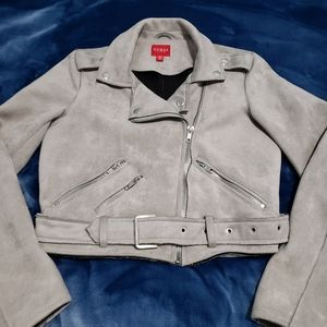 Guess Gray Faux Suede Moto Jacket XS